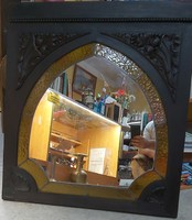 Ólomüveg/fa antik tükör