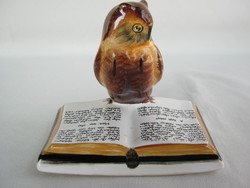 Retro ... Bodrogkeresztúri kerámia figura nipp könyvet olvasó bölcs bagoly