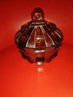 Borostyán színű üveg cukortartó