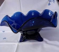 Kék nagy gyümölcsös üveg kínálótál, asztalközép.