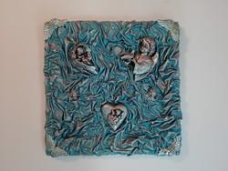 Kézműves angyalkás falidísz, falikép