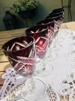 Rubin, bordó csiszolt antik ólomkristály boros készlet, 1 palack + 6 db pohár