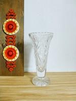 Csodaszép,csiszolt  ólomkristály talpas váza