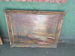 1 ft os aukció. Antik szignózott festmény legelésző marhákkal 1920