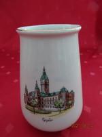 Aquincum porcelán váza, Győr felirattal és a Városháza látképével.