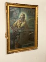 Fali nagy méretű szentkép 85X115CM - Jézus a Mindenhatóhoz imádkozik -  szentkép