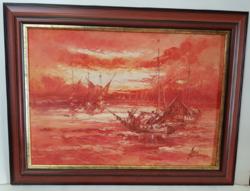 Hajós festmény ismeretlen szignóval.