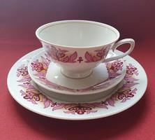 Lettin német porcelán reggeliző szett 3 részes (csésze, csészealj, kistányér)