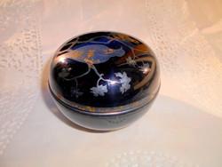 Antik fekete színű üveg doboz-különleges kézműves darab-ezüst színű díszítéssel