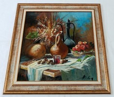 """Adilov Alim """"Csendélet asztalon"""" olajfestmény keretben, ingyen postával"""