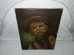 1,-Ft Remekül megfestett idős parasztbácsit ábrázoló festmény