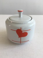 Régi, retro, vintage Alföldi porcelán szívecskés, szív, szívecske mintás cukortartó tetővel