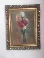 Antik virág csendélet ismeretlen festőtől .