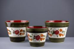Tirol Schramberg Handgemalt, porcelán kaspók, 3 darab, jelzett, számozott, kézzel festett.