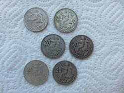 Görögország 6 darab ezüst 20 drachma 1960 6 x 7.5 gramm