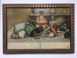 Kőrösy jelzéssel, Csendélet zöldségekkel, olaj festmény