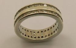 Régi 925-ös ezüst gyűrű sok cirkónia kő