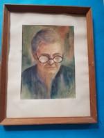 Olvashatatlan jelz .  Szemüveges női portré