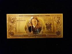 Új - aranyozott, plasztik  Hermione 5 galleons a Harry Potterből