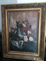 Antik biedermeier virágcsendélet eredeti jelzett alkotás gyönyörű keretben