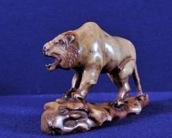 Kínai kézzel faragott vaskő tigris a 19.századból
