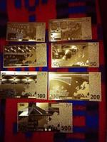 Új - 7 db-os aranyozott, plasztik euró sor egyben.   III.