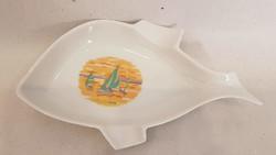 Hollóházi Balaton felíratú hal formályú tál