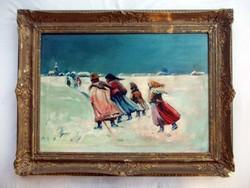 J. Hála '49 jelzéssel olaj-vászon festmény