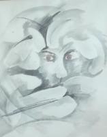 Sejtelmes portré - modern (lavírozott tus papírra, 67x91) nagyméretű portré, arckép