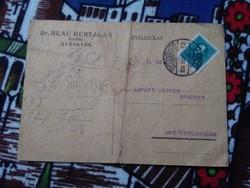 1934 Nov. 5. 1932/1937. Arcképek (I) 10 filléres kékeszöld 525. ssz. Bélyeggel Gyöngyösön feladva