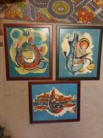 Három festmény, egy művész, szignós kettő... 50x60+ keret, olaj, farost