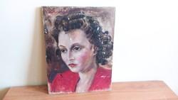 Szép portréfestmény 25x34 cm fára festve