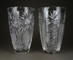 1F011 Régi gyönyörű csiszolt üveg kristály váza pár 20 cm