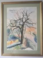 Nyergesi ( Nyerges ) János ( 1895 - 1982 )  akvarell festménye 1954- ből .