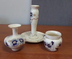 Zsolnay porcelán búzavirág mintás 3 db-os szett – akár ajándéknak is