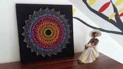 Cérnakép | String art | Mandala | Kép | Dekoráció | 3D hatású