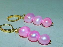 Rózsaszínű tenyésztett Valódi Gyöngy Aranyozott Fülbevaló