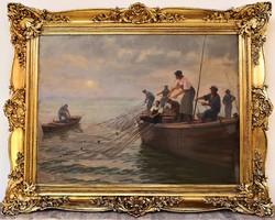 Tóth Bartók Jenő (1889 - ) Balatoni Halászok c. olajfestmény 125x100cm EREDETI GARANCIÁVAL
