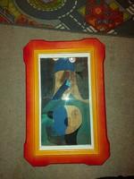 Ország Lili festmény, 25x43 cm+keretei, karton, vegyes technika