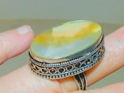 Gyöngyház köves Tibeti Ezüst Gyűrű 7-es