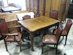 Antik chippendale étkező, asztal székekkel