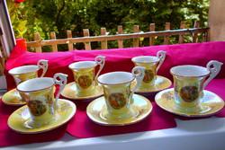 Régi KAHLA lüszteres porcelán csokoládés  készlet 6 csésze+ 6 csészealj