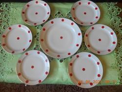 Zsolnay piros pöttyös süteményes készlet