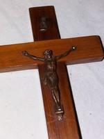 Régi fa kereszt rézből készített Jézus szoborral!