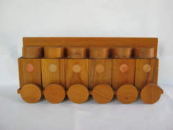 Retro fa 6 db-os fali fűszertartó készlet