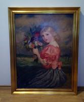 Vydai Brenner Nándor - Kislány virágcsokorral