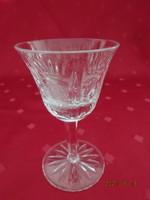Kristályüveg, talpas, likőrös pohár, magassága 10 cm.