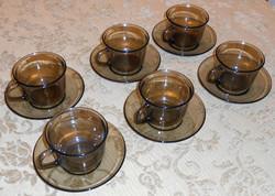 Teás kávés francia füstszínű hőálló üveg készlet 6 személy