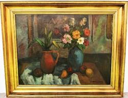 Gannay János (1905 - 1992) Csendélet c . Képcsarnokos olajfestménye 96x76cm EREDETI GARANCIÁVAL