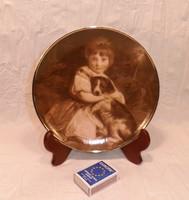 Kislány kutyával, porcelán dísztányér